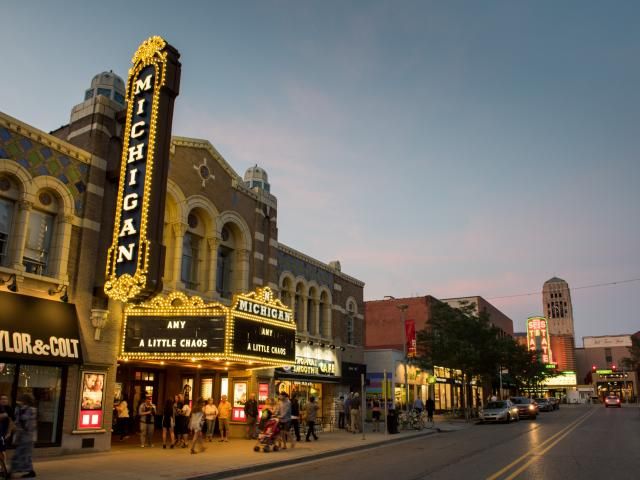 Michigan Theatre and Liberty Street at dusk