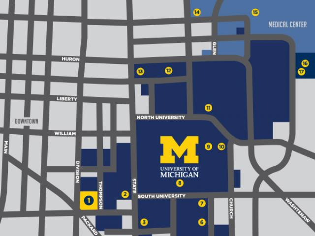 Map with streets of Ann Arbor and blue areas shaded to signify areas if campus.