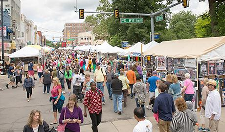 People and vendors at the Ann Arbor Art Fair