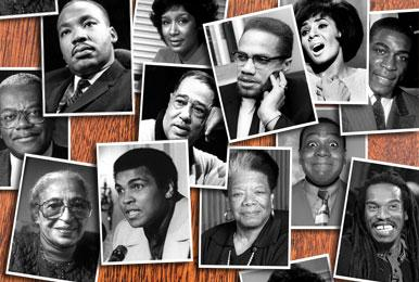 collage of photos of famous African Americans