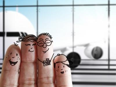 Fingers drawn as a family at airport