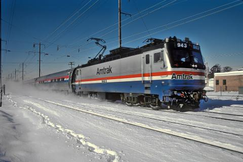 Amtrak train in snow
