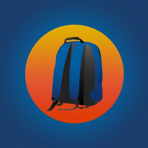 A blue backpack surrounded by a red and yellow circle with a blue background behind the circle