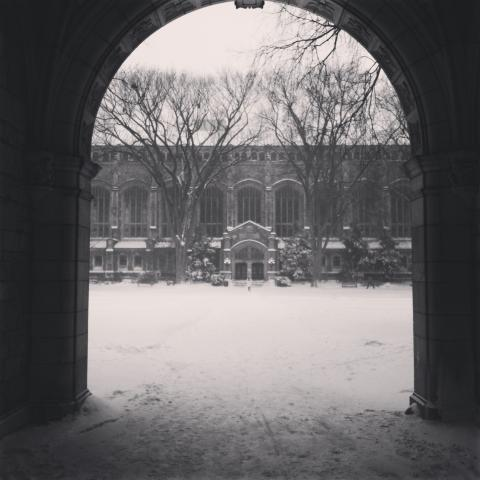 View of the law quad with a snowy background