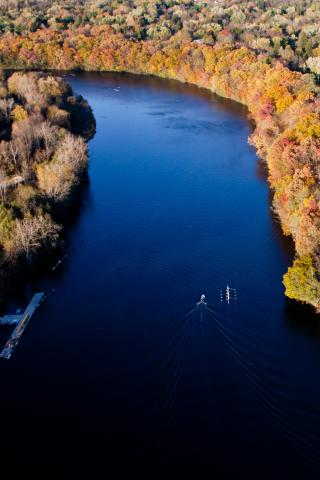 Aerial photo of the Huron River in the fall