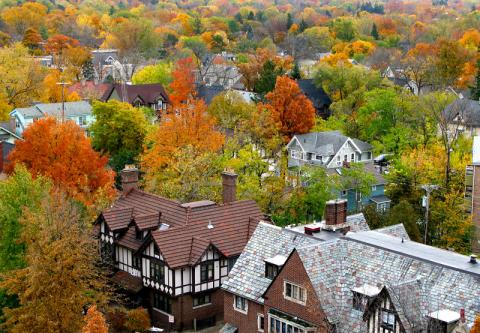 Aerial photo of Ann Arbor with fall colors