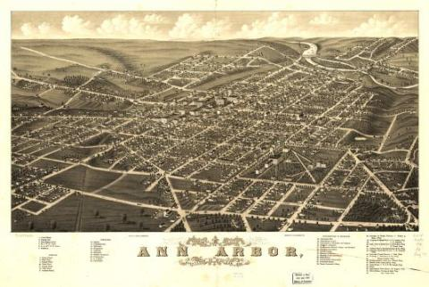 Old photo of city of Ann Arbor that shows an areal view of the roads around the city