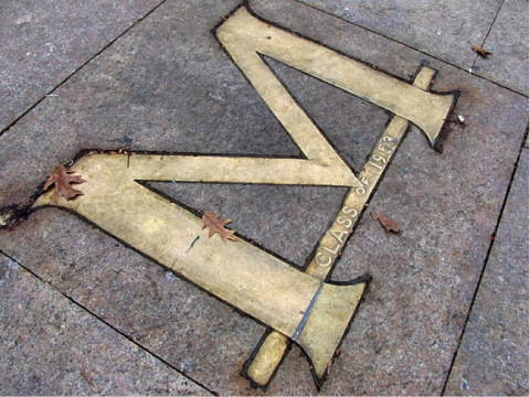 A close view of the Gold M on the Michigan Diag