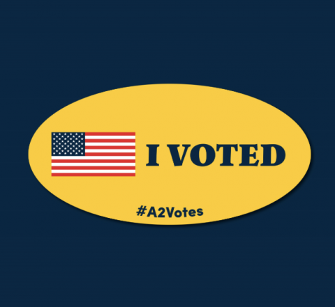 A voting sticker for Ann Arbor