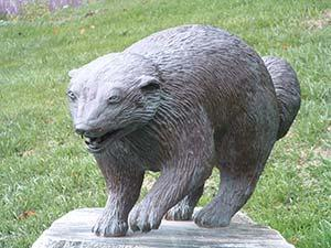 Photo of a statue of a wolverine located on U-M's north campus
