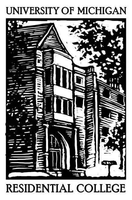 Logo for Umich Residential College - black and white drawing/sketch of East Quadrangle