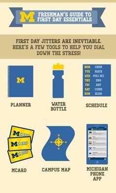 """Graphic that reads: """"Freshman's guide to first day essentials. First day jitters are inevitable. Here's a few tools to help you dial down the stress: Planner, Water bottle, Schedule, MCard, Campus Map, Michigan App"""