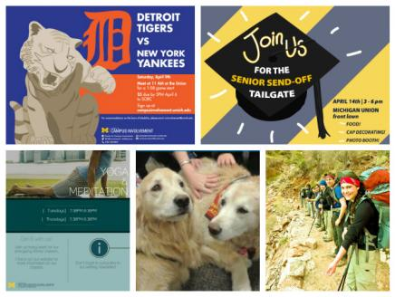 "Five images of events including: Detroit Tigers logo with a grey tiger, Black Grad Cap for ""Senior Send Off"", Trotter Yoga Poster, two golden retrievers, and students on a Outdoor Adventures hike."