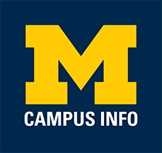 "Block M with ""Campus Info"" underneath in white lettering. Dark blue background."