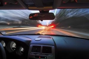 View from the front seat of a car