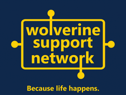 "wolverine support network logo which has a blue background and yellow letters that read ""Wolverine support network"". The words are surrounded by a yellow box. Some of the letters have extended lines with bulbs at the end of the line. Below the logo it reads in yellow ""because life happens."""