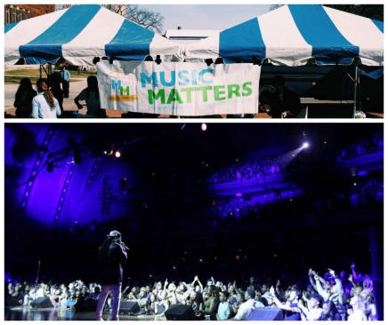 2 Pictures. First one of a Music Matters banner in front of blue and white striped tents on the Diag. 2nd one of musical artist 2 Chainz singing to thousands of students in Hill Auditorium.