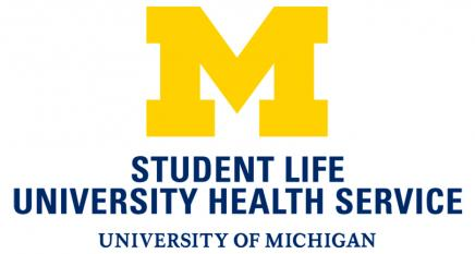 "University Health Service logo which is a block maize M with ""Student Life University Health Service University of Michigan"" written underneath it in blue"
