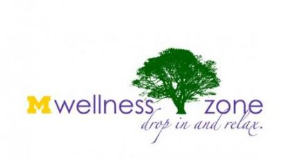 "CAPS Wellness Zone logo which starts with a block M in Maize, then says Wellness Zone with a picture of a large green tree between the words wellness and zone. Beneath in cursive it reads ""drop in and relax"""