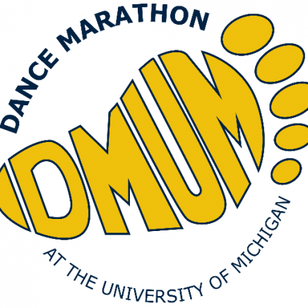 "Dance Marathon Umich logo, which looks like the letters ""DMUM"" together in the shape of a yellow foot. Around the DMUM are words that read ""Dance Marathon at the University of Michigan"""