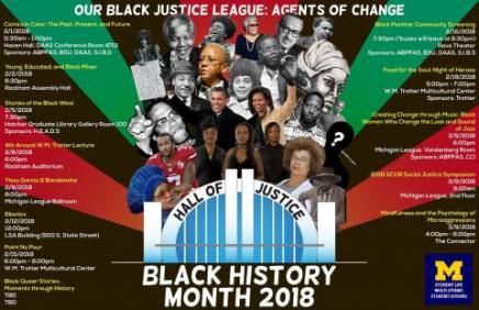 """Black history month calendar reads """"Our Black Justice League: Agents of Change"""" """"Hall of Justice"""" """"Black History Month 2018"""""""