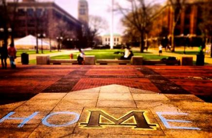 "A red hue of the Michigan Diag and the ""M"" in the middle. ""HO"" is written on the left side of the M and ""E"" is written on the right side so that it spells ""HOME"" when including the Michigan Diag M."