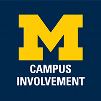 Umich Campus Involvement logo - Block M with Campus Involvement written underneath and a navy blue background