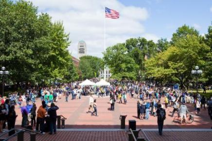 Group of people on the Diag at Festifall