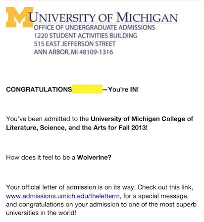 Photo of a sample acceptance letter from the University of Michigan