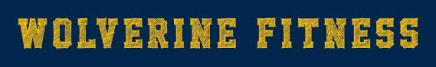 "Words ""Woverine Fitness"" in maize on blue background"