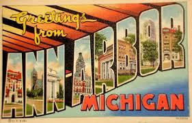 "Old Ann Arbor post card with ""Ann ARBOR"" written in block letters filled in with pictures of the city. ""Greetings from"" is written above the block letters in yellow cursive and 'MICHIGAN"" is written below the block letters in red."
