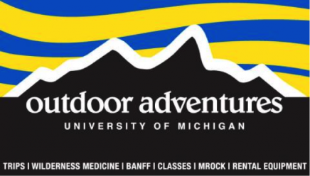 "Outdoor adventures logo which is a picture of black mountains outline in white. The sky above the mountains is filled with maize and blue lines. In white it says ""outdoor adventures University of Michigan"" along the bottom it says ""Trips