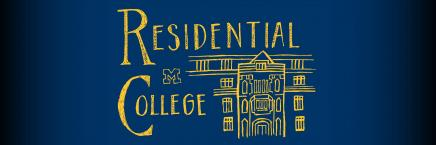 """Drawing of residence hall in yellow with blue background reading """"Residential College"""" with Block M"""