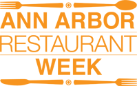 "Ann Arbor Restaurant Week logo which is all in orange. A fork and spoon line the top of the frame and a knife and fork line the bottom. In the middle, it reads ""ANN ARBOR RESTAURANT WEEK"""