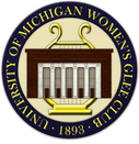 "Womens Glee Club logo which is a harp-like symbol with a building with pillars standing in front of it. There is a dark blue ring surrounding the picture that says ""University of Michigan Women's Glee Club - 1893"""