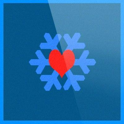 Blue snowflake with a red heart in the middle